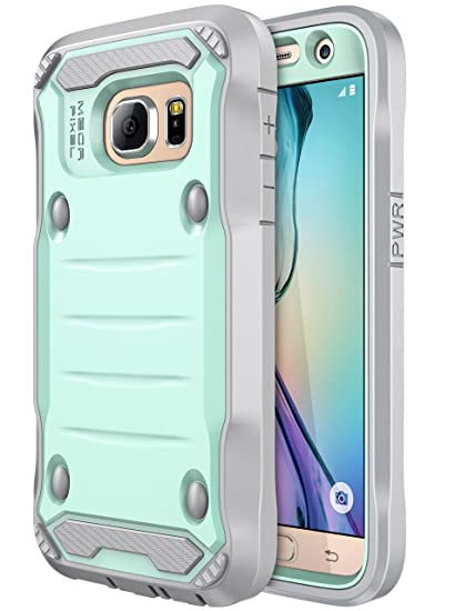 Galaxy S7 Case, E LV Samsung Galaxy S7 Hybrid Armor Protection Defender Case Cover with Built-in Screen Protector for Samsung Galaxy S7 - [Mint/Grey]