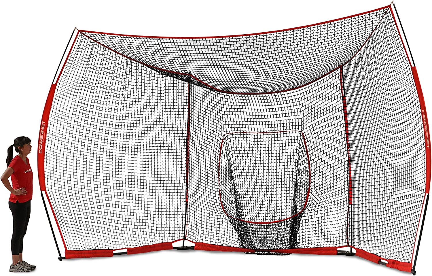 PowerNet Portable Baseball Backstop Large 16 Foot Wide by 9 Foot High Fully Collapsible Easy to Transport Portable w Instant Setup No Tools Required Turns Any Open Space Into a Baseball Diamond