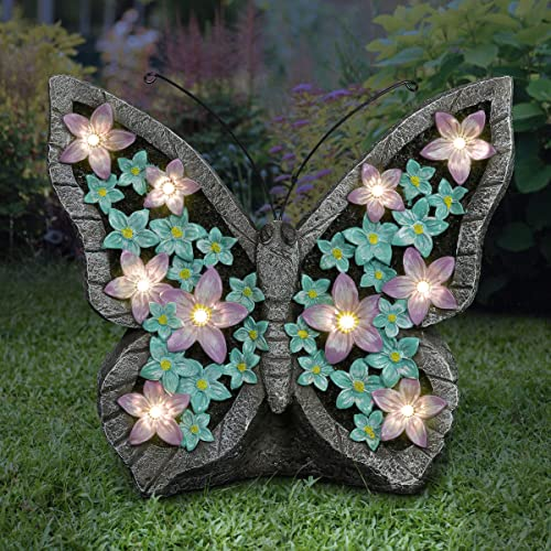 Exhart Solar Outdoor Garden Butterfly Statue w/LED Light Flower Wing