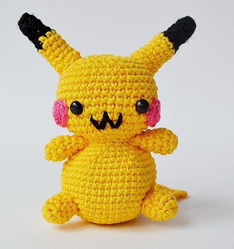 Handmade Soft Toy Pikachu Yellow Knitted Acrylic Sintepon Eco