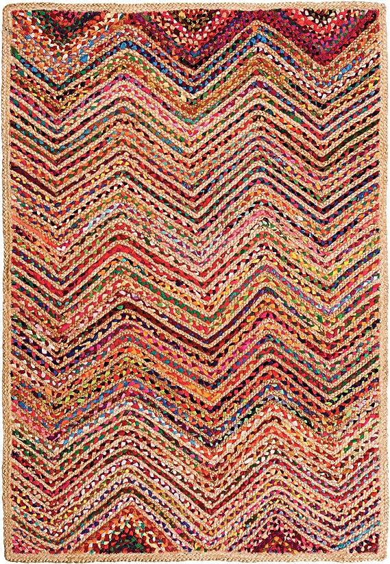 Indian Arts - Alfombra trenzada de algodón reciclado y yute (120 x 180 cm): Amazon.es: Hogar