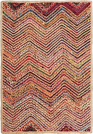Indian Arts - Alfombra trenzada de yute y algodón reciclado, algodón, Varios Colores, 120 x 180cm: Amazon.es: Hogar