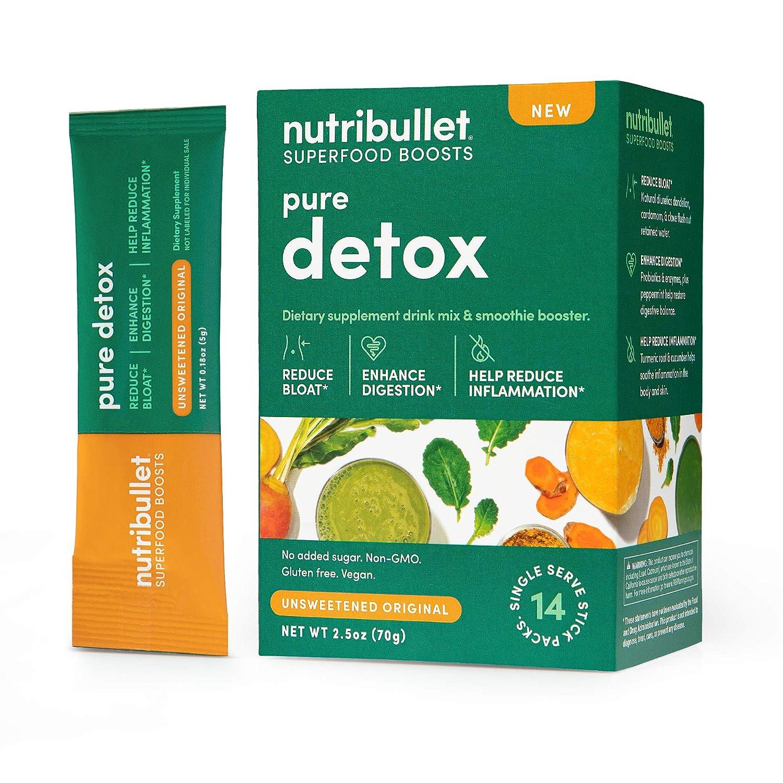 NutriBullet Superfood Boosts – Pure Detox (with fiber, prebiotics, probiotics, enzymes & premium botanicals), Unsweetened, 14 Stick Packs