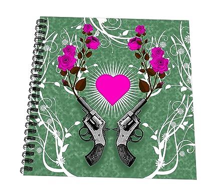 Russ Billington diseños – pistolas y rosas con rosa corazón – libro de dibujo, 4