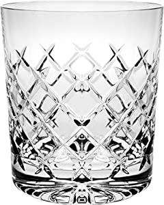 Crystal Double Old Fashioned - Set of 6 Glasses - Hand Cut DOF tumblers - Tumbler Glass For Whiskey - Bourbon - Water - Beverage - Drinking Glasses - 9 oz - Made in Europe By Barski