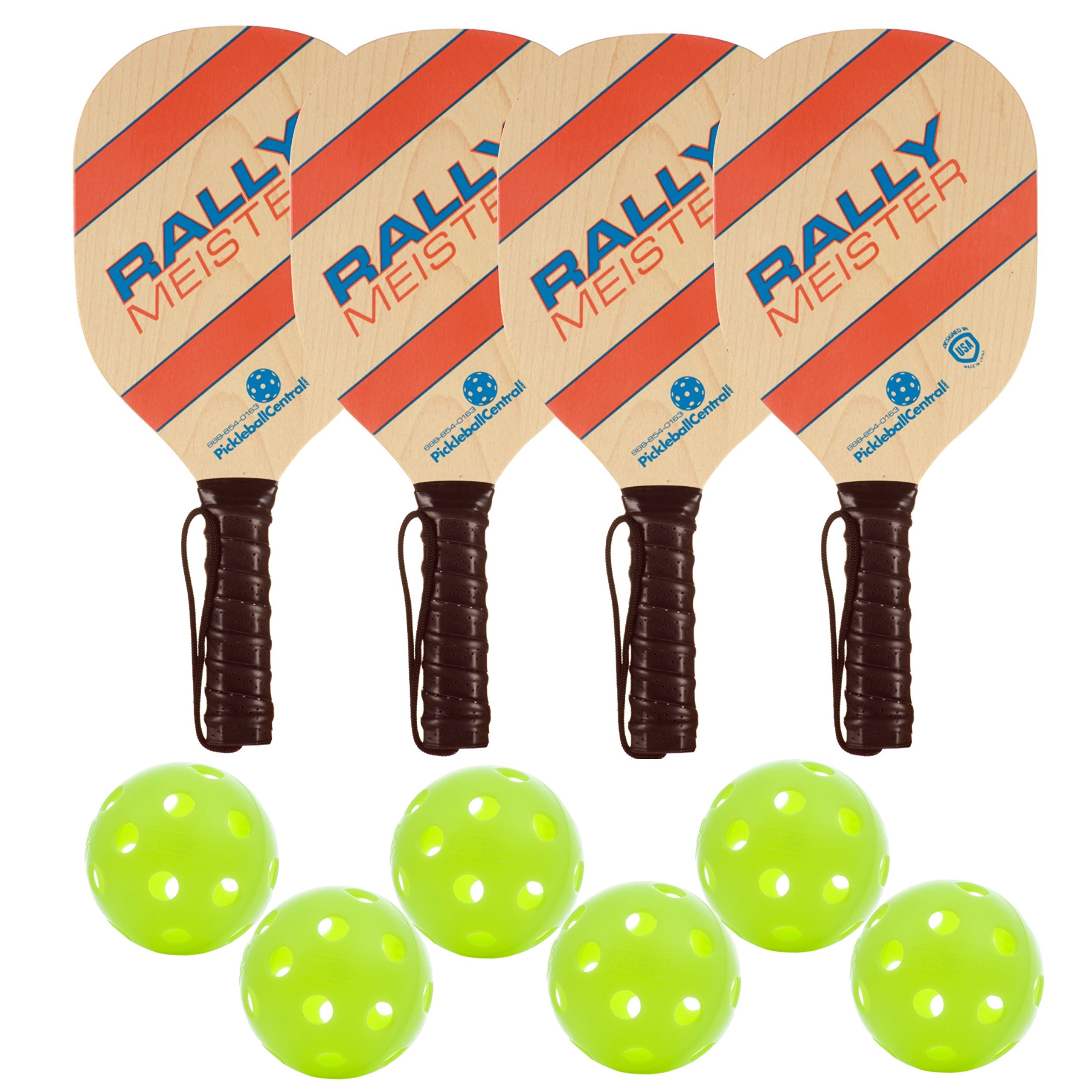 Rally Meister Wood Pickleball Paddle Deluxe Bundle 4 Paddles & 6 Balls by PickleballCentral