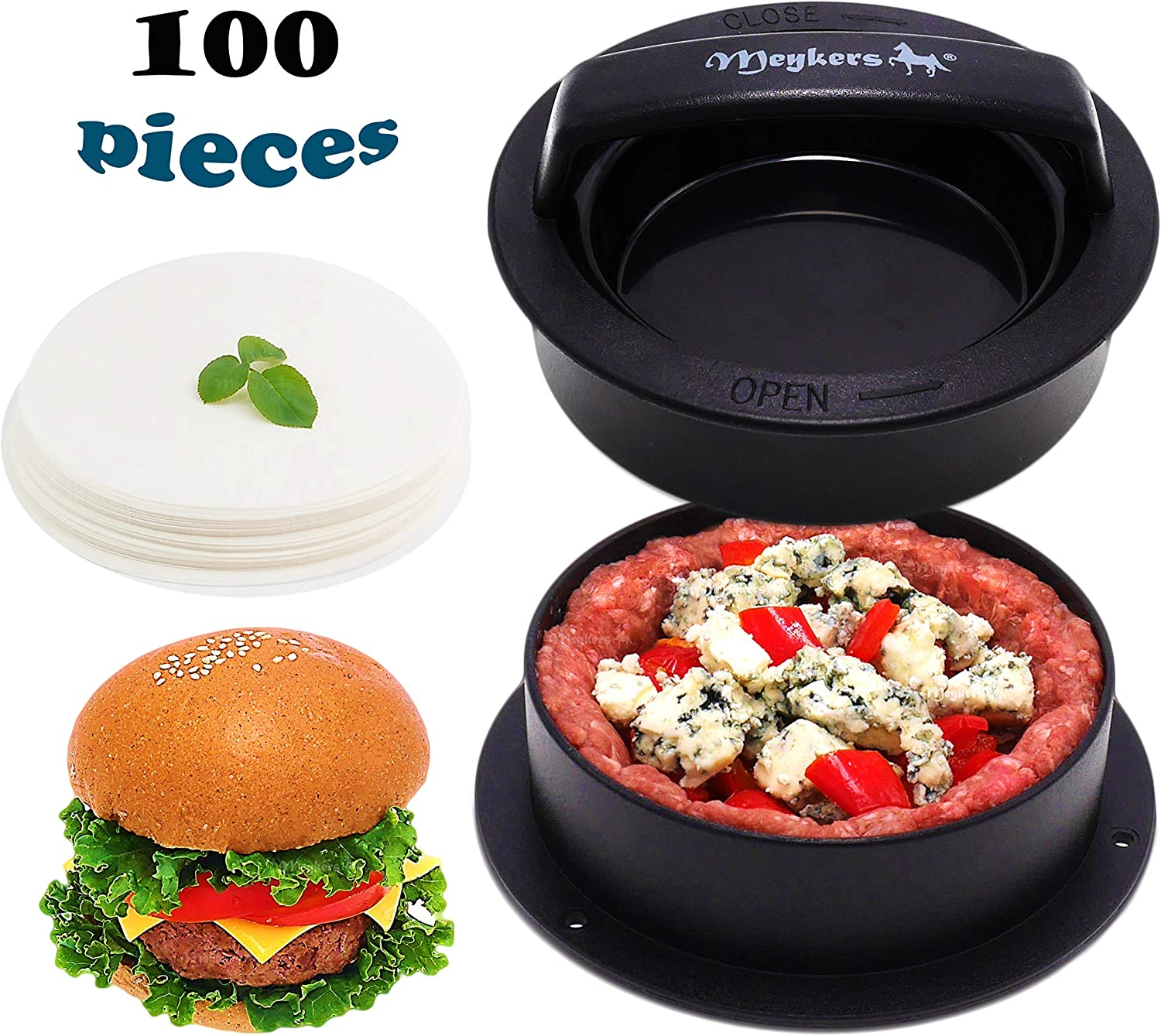 Meykers Burger Press Hamburger Press Patty Maker - with 100 Wax Papers Hamburger Patty Press Burger Mold Non-Stick 3-in-1 for Stuffed Cheeseburger Slider Burger Stuffer Beef Cheese Halal Vegan Grill