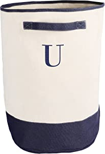 Cathy's Concepts Personalized Round Storage Hamper, Navy, Letter U