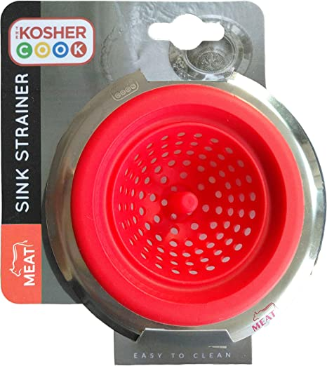 Amazon Com Meat Red Kitchen Sink Strainer Durable Silicone Large Wide Rim Drains Water Fast And Efficiently Color Coded Kitchen Tools By The Kosher Cook Kitchen Dining