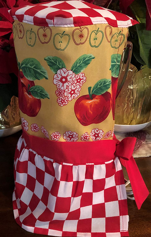 Betxym Blender Cover for OSTER. Kitchen design: Apple- red checkered. Dress for blender-Ribbons to make your own adjustable bow.