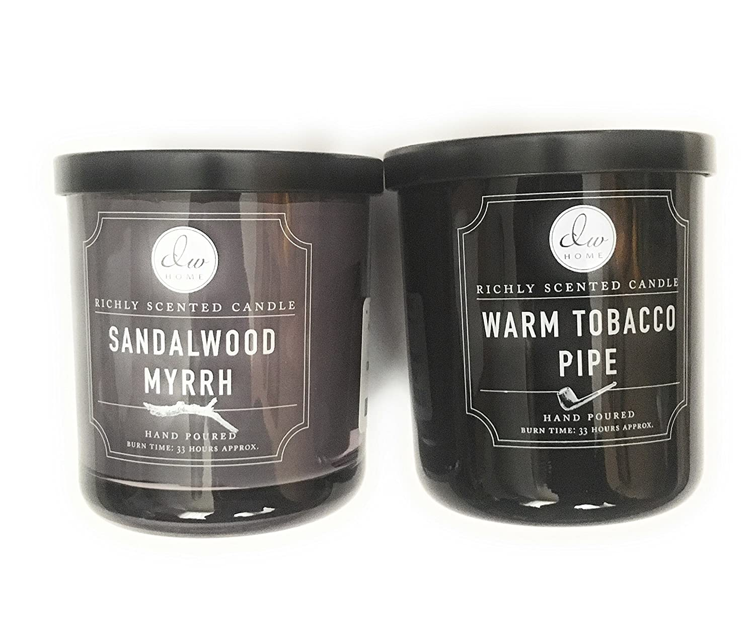 DW Home Candle Bundle with a Warm Tobacco Pipe (9.69oz) Candle and a Sandalwood and Myrrh (9.69oz)Candle (2 items)