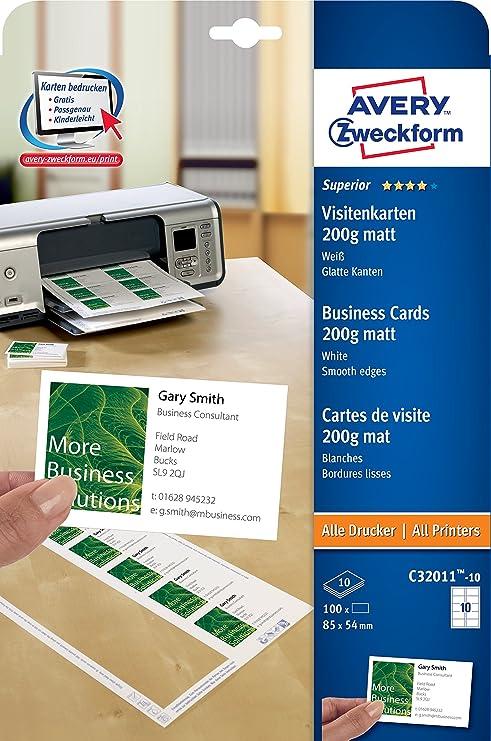 Avery Zweckform C32011 10 Paquet De Feuilles 200 G Finition Mate Pour Cartes