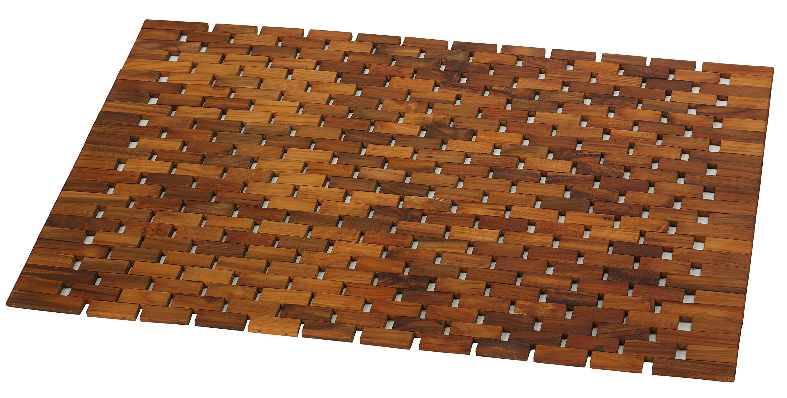 Bare Decor Kuki Spa Mosaic Shower Mat in Solid Teak Wood Oiled Finish, 30x20