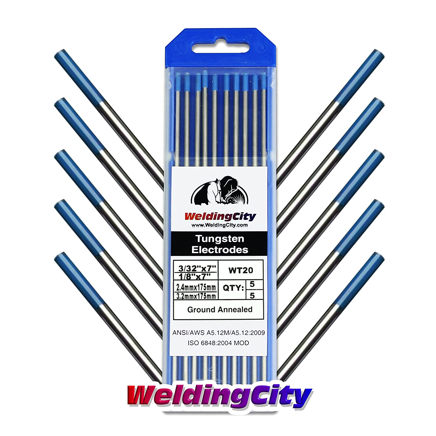 """WeldingCity 2% Lanthanated (Blue) Tungsten TIG Welding Electrodes Assorted Size 3/32"""" (5) and 1/8"""" (5)"""