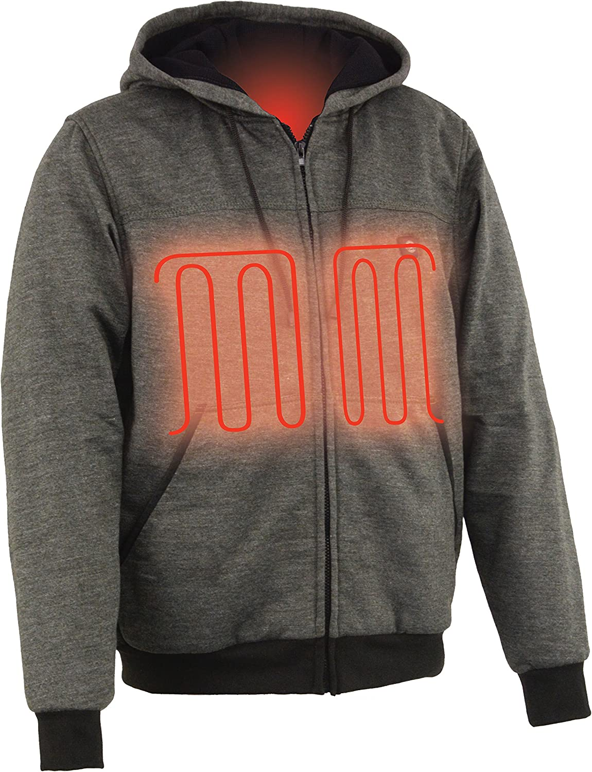 Medium Milwaukee Leather MPM1713 Mens Grey Hoodie with Front and Back Heated Elements