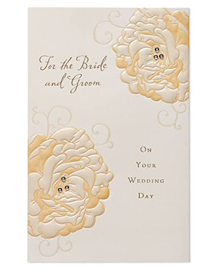 Amazon american greetings bride and groom wedding card with american greetings bride and groom wedding card with rhinestones m4hsunfo
