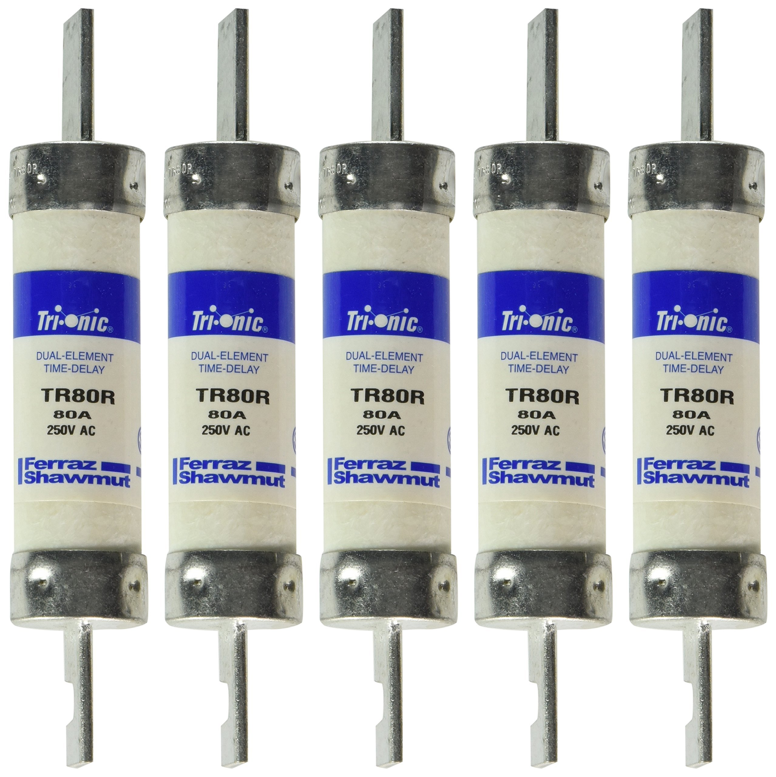 Mersen TR80R 250V 80A 5 7/8X1 1/16 Rk5 Time Delay Fuse, 5-Pack
