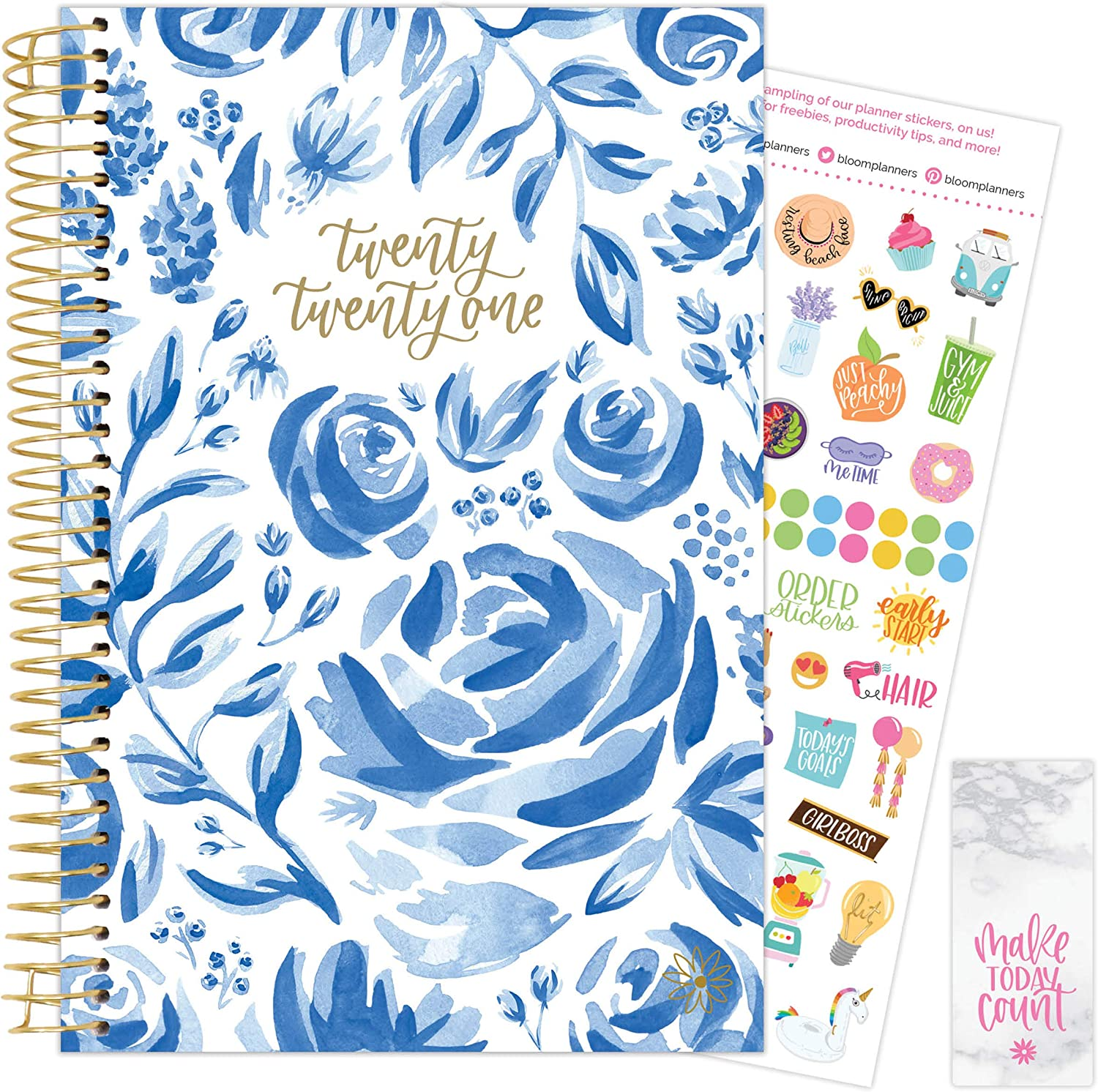"""bloom daily planners 2021 Calendar Year Day Planner (January 2021 - December 2021) - 6"""" x 8.25"""" - Weekly/Monthly Agenda Organizer with Stickers and Bookmark - Blue & White Floral"""
