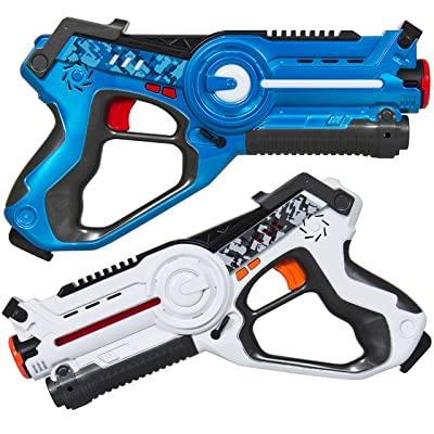 Best Choice Products Set of 2 Kids Infrared Laser Tag Blasters for Kids & Adults w/ 4 Settings, Multiplayer Mode, Lights, Sounds - Multicolor: Toys & Games