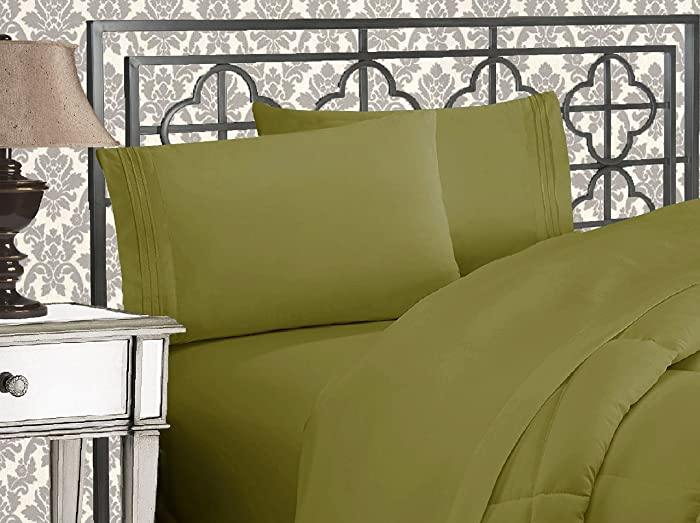 Elegant Comfort Luxurious & Softest 1500 Thread Count Egyptian Three Line Embroidered Softest Premium Hotel Quality 4-Piece Bed Sheet Set, Wrinkle and Fade Resistant, Queen, Sage-Green