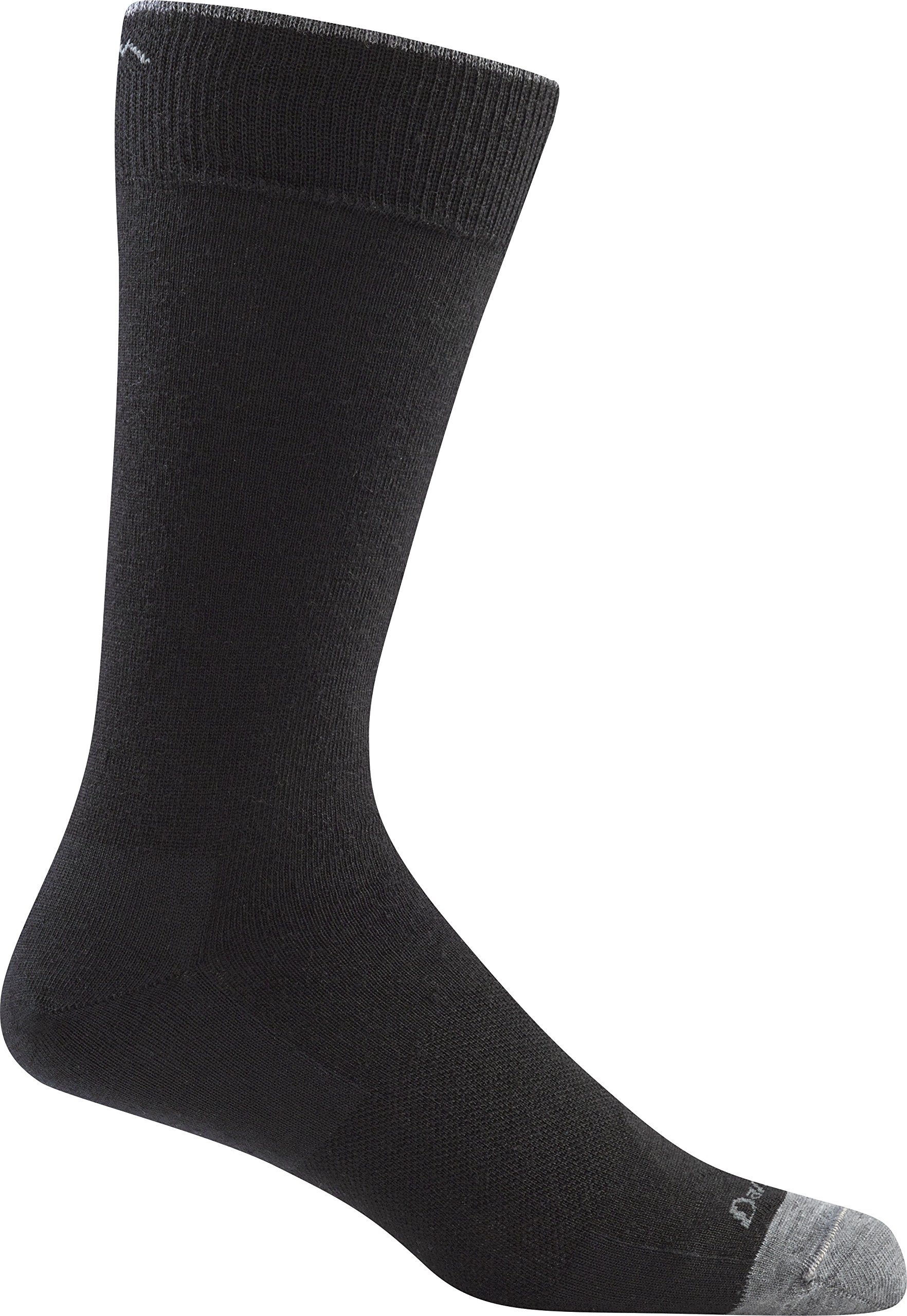 Darn Tough Men's Solid Crew Light Sock (Style 1617) Merino Wool, Black (Large 10-12) - 6 Pack by Darn Tough