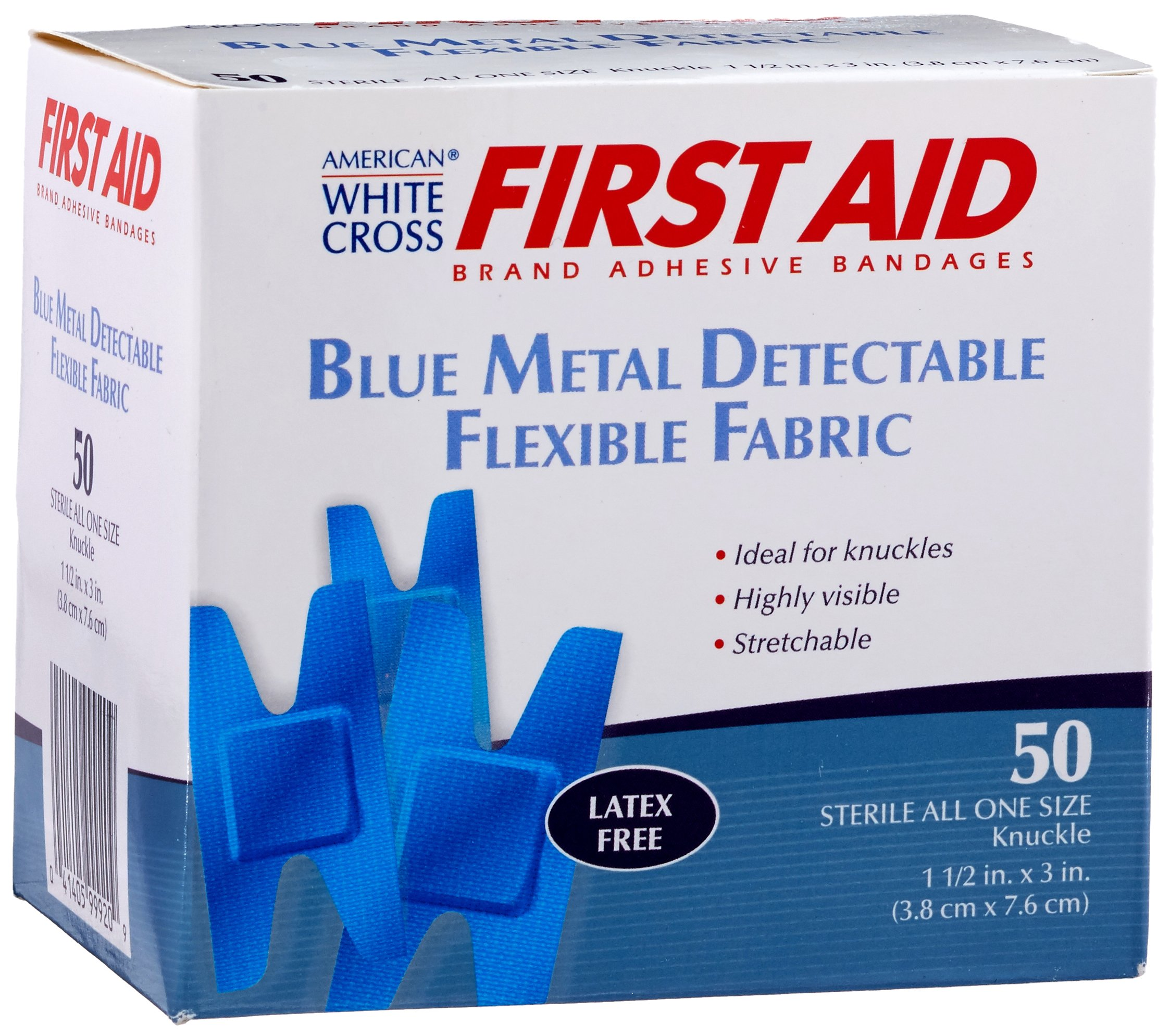 American White Cross 99920 Blue Metal Detectable Adhesive Strips, Sterile, Lightweight Flex 1-1 per 2'' x 3'' Knuckle, 50 per Box, 24 Box per Case (Pack of 1200)