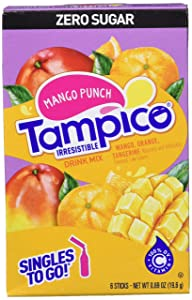 Tampico Singles To Go Drink Mix Packets, Mango Punch, 6-Count Box – Zero Sugar, Low Calorie Powdered Drink Packets, 100% DV of Vitamin C per Serving, Convenient, On-The-Go Water Enhancers