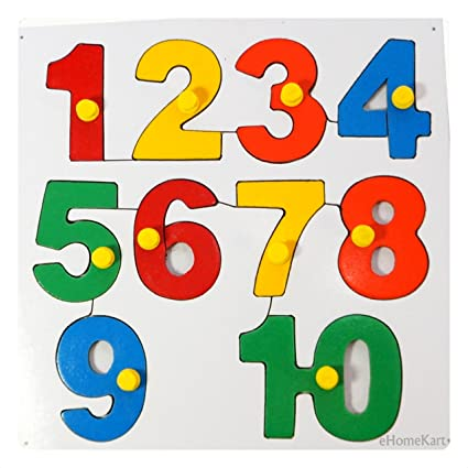 One to Ten (1-10) Numbers - Wooden Jigsaw Puzzle Toy - Learning