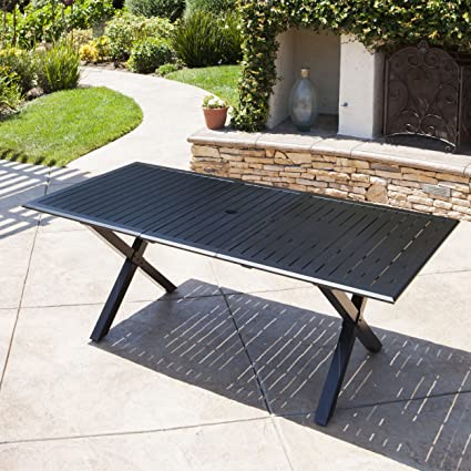 Genial Amazon.com : Christopher Knight Home Eowyn Black Cast Aluminum Expandable  Outdoor Dining Table : Garden U0026 Outdoor