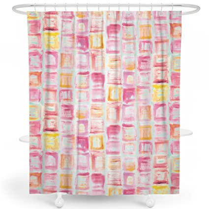 livetty shower curtain pink ice cube cute geometry colorful shower curtains for women pink - Colorful Shower Curtains