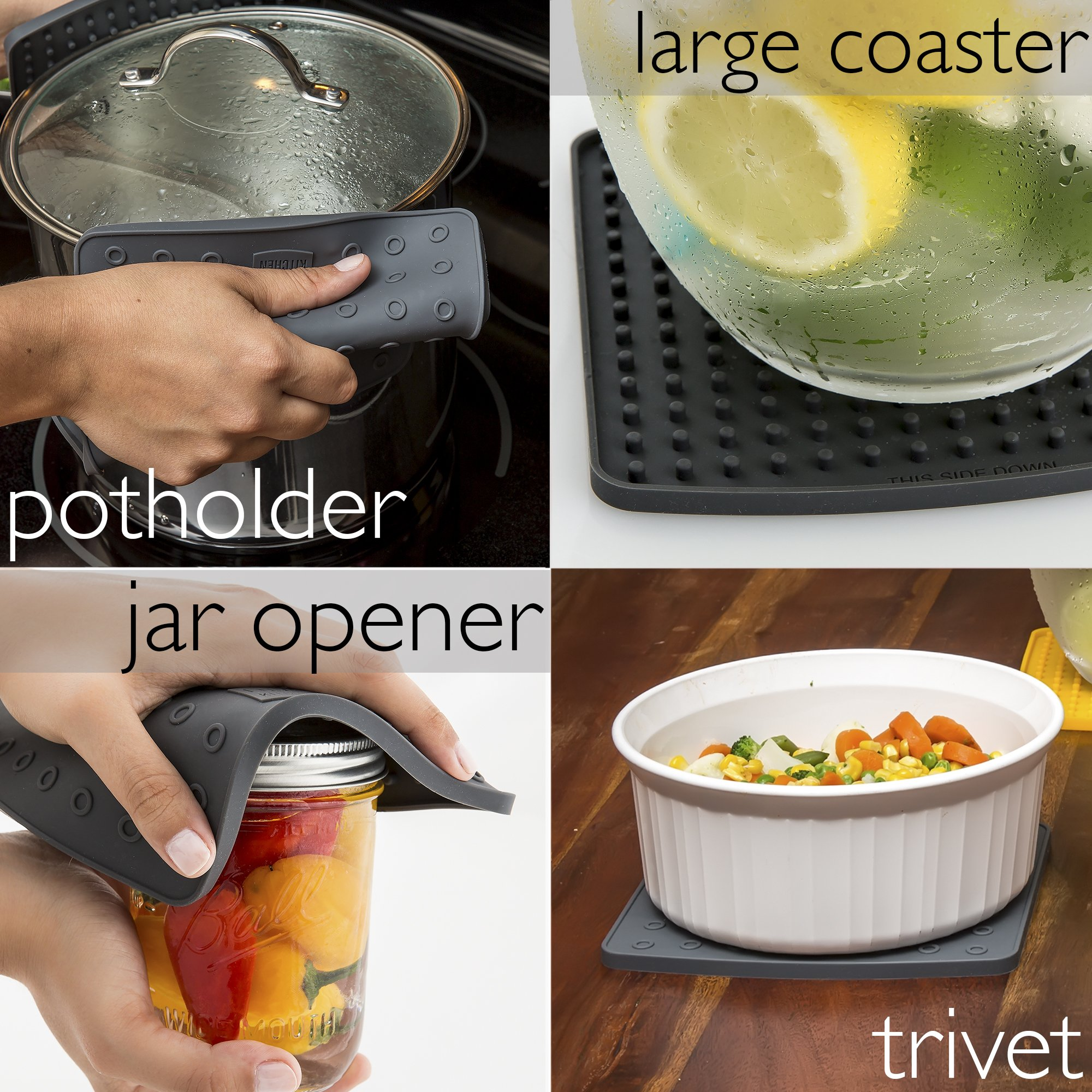 Premium Silicone Trivet Mats/Hot Pads, Pot Holders, Spoon Rest, Jar Opener & Coasters - Our 5 in 1 Kitchen Tool is Heat Resistant to 442 °F, Thick & Flexible (7'' x 7'', Dark Gray, 1 Pair) by Love This Kitchen (Image #3)