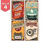 Retro Poster Signs for Garage Set of Four 11x17. Funny Vintage Signs for Auto Repair Service Shop or a Car Wash Garage. Great as Birthday Gifts for Men or College Posters