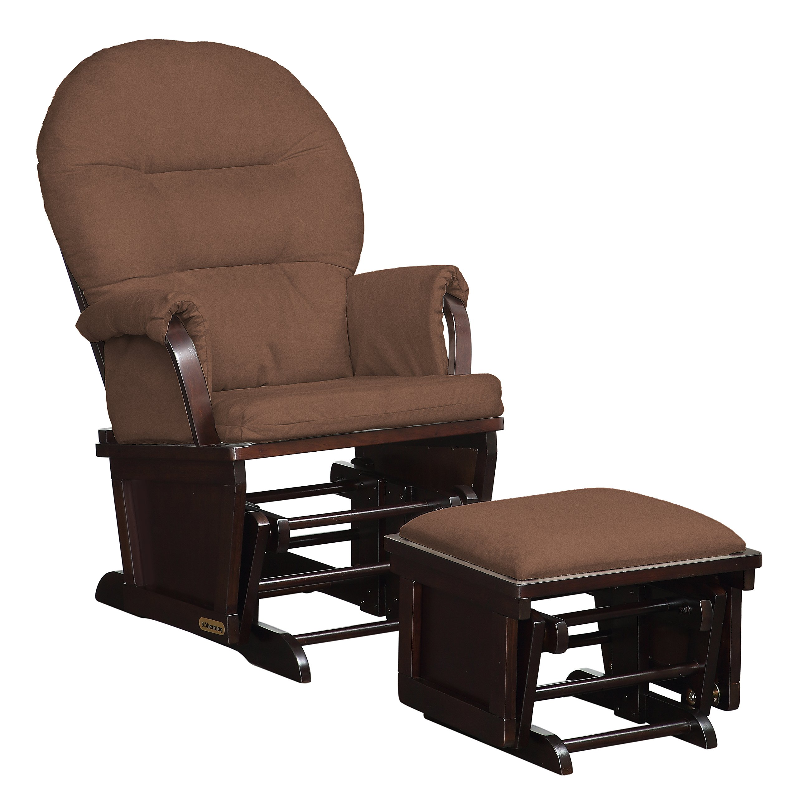 Lennox Contemporary Style Glider Chair and Ottoman Combo, Espresso with Chocolate by Lennox Furniture