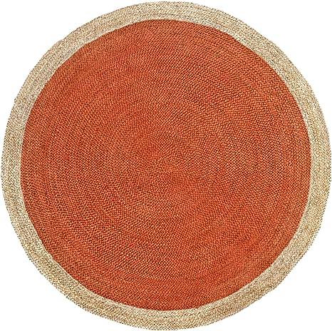 green decore tapis rond tresse a la main en fibre de jute naturelle 150 cm de diametre oculus orange