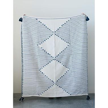 Creative Co-Op Cotton Woven Cream Diamond Design and Blue Stripes & Tassels 21-Textiles-Blankets/Throws