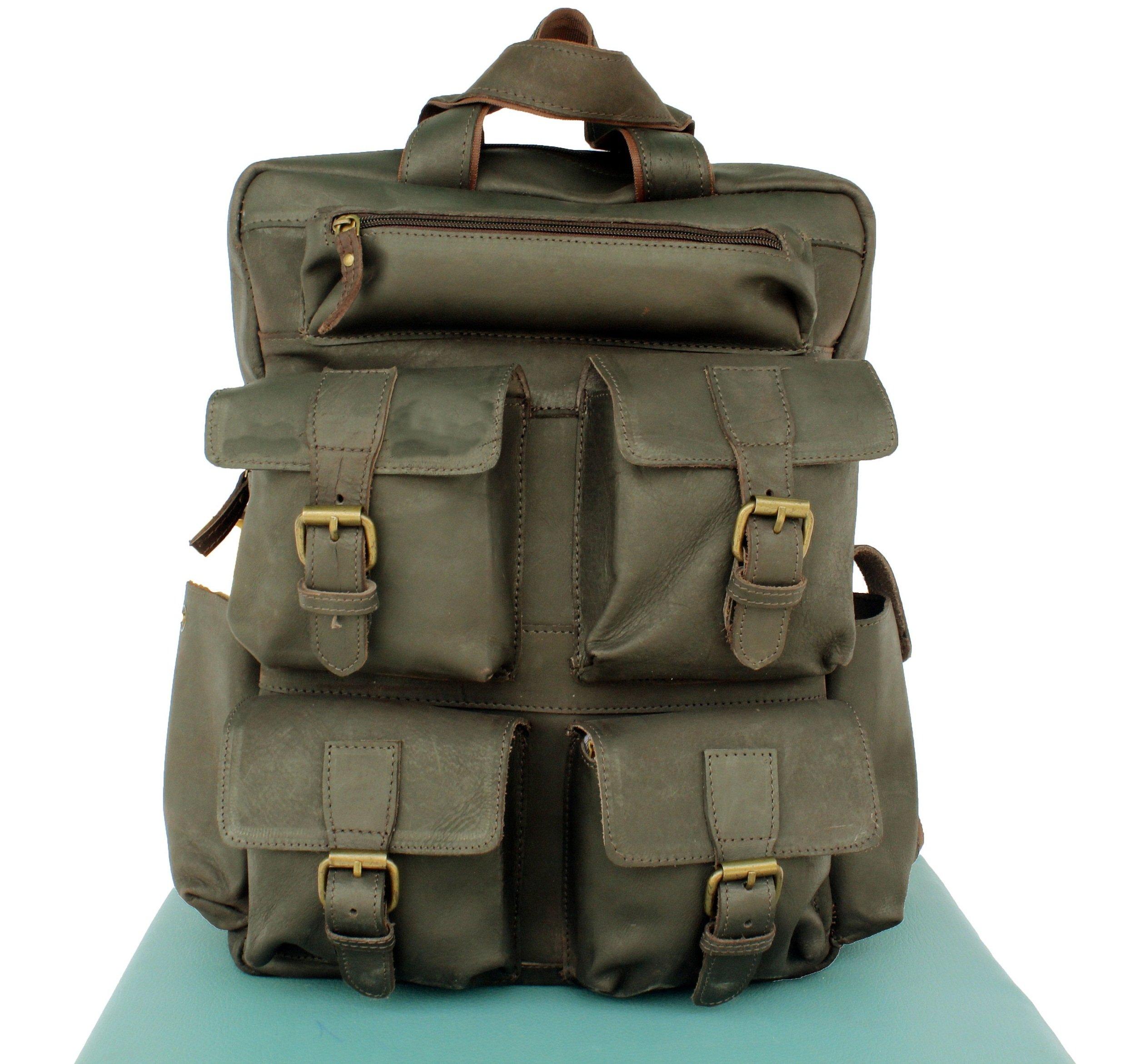 AOL Vintage Genuine Buffalo Leather 18'' Backpack Rucksack Travel Bag College Bag SALE