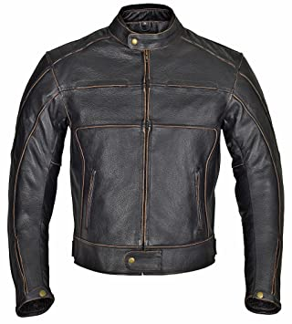 Amazon Com Wicked Stock Men Motorcycle Armor Leather Jacket Vintage