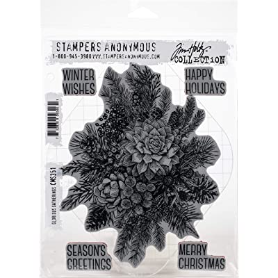 "Stampers Anonymous CMS351 Tim Holtz Cling Stamps 7""X8.5""-Glorious Gatherings W/Gridblock, Red: Arts, Crafts & Sewing"