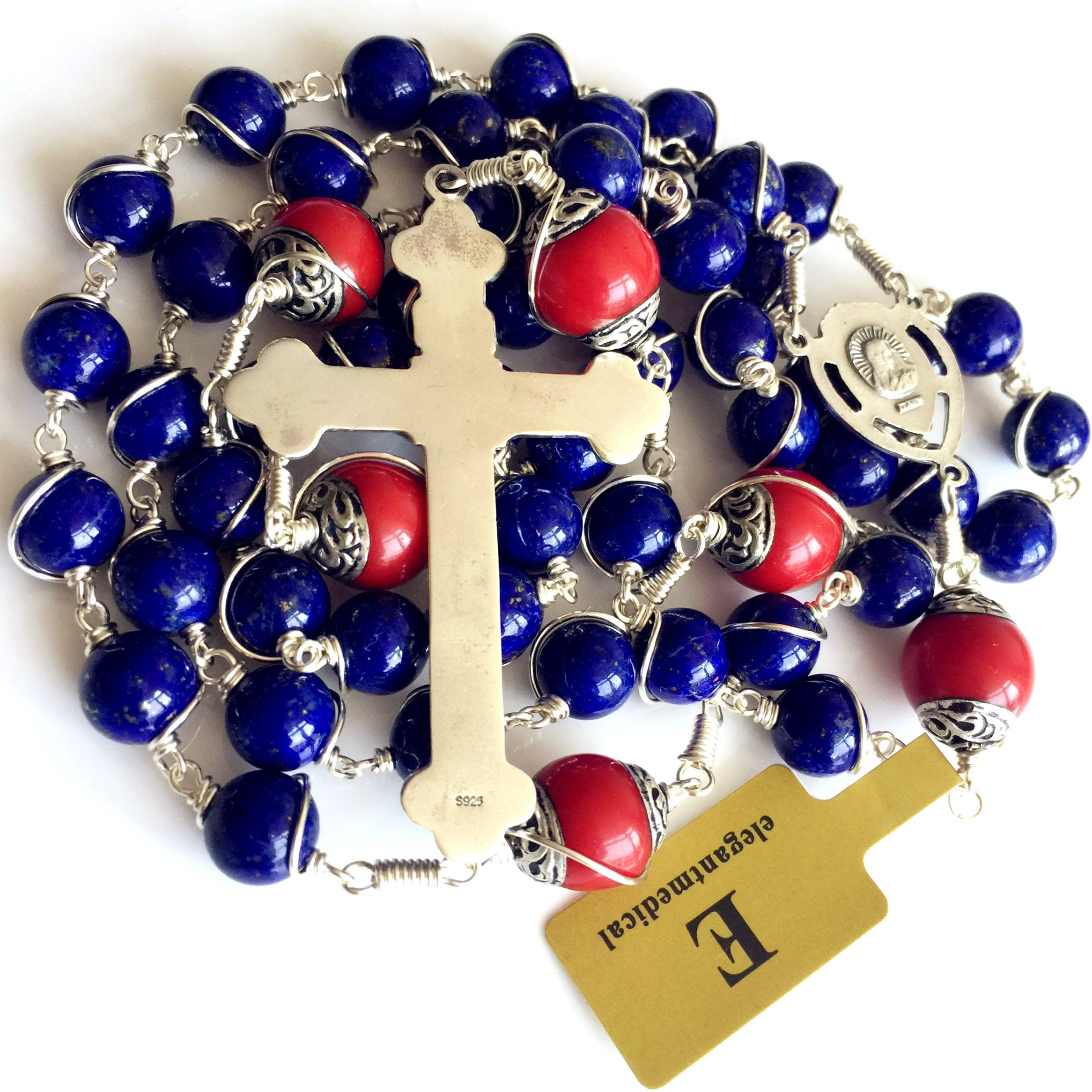 Handmade Sterling 925 Silver Lapis Lazuli Beads Rosary Cross Crucifix Catholic Necklace Gifts by elegantmedical (Image #8)