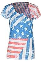 Beachcoco Women's American Flag Print Semi Sheer V-neck Top