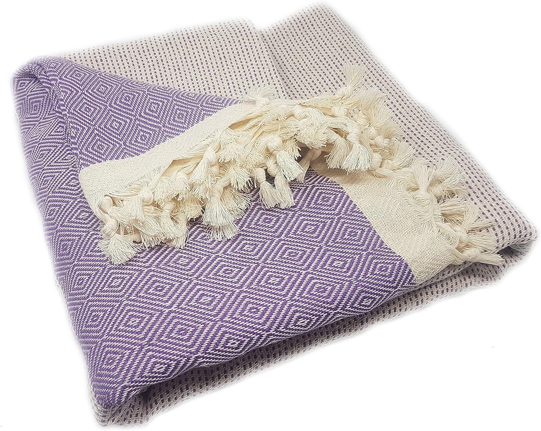 ELMAS Nature Tagesdecke Bett/überwurf /Überwurf Plaid Baumwolle 200x220 cm Bordeaux