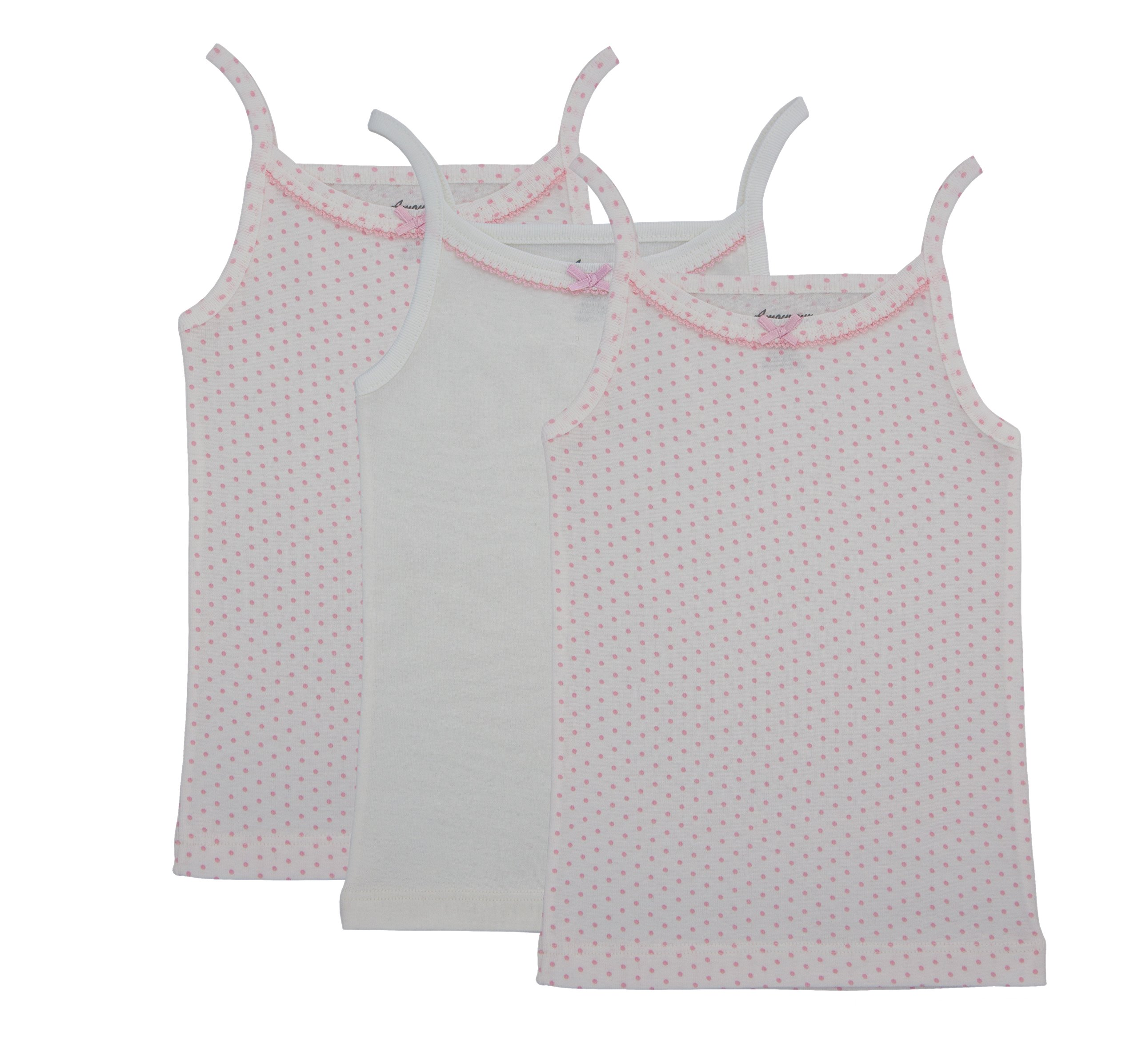 Amoureux Bebe Camisole Undershirts For Toddlers & Girls- Extra Soft Turkish Cotton Tank Tops- Pink & White Polka Dots, Size 8-9 (3 Pack)