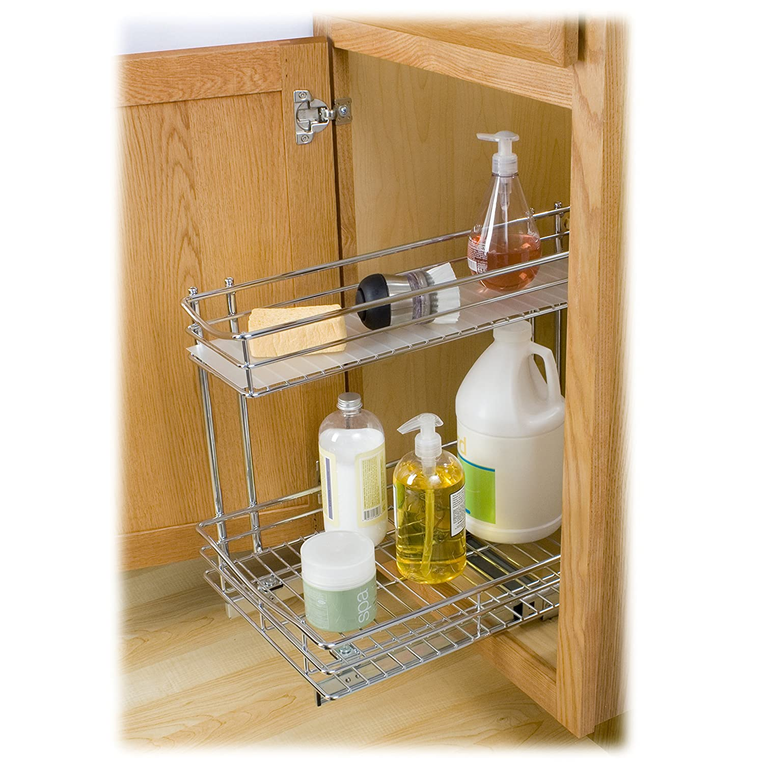 Lynk roll out under sink cabinet organizer pull out two tier sliding - Amazon Com Lynk Professional Roll Out Under Sink Cabinet Organizer Pull Out Two Tier Sliding Shelf Chrome Multiple Sizes Home Kitchen