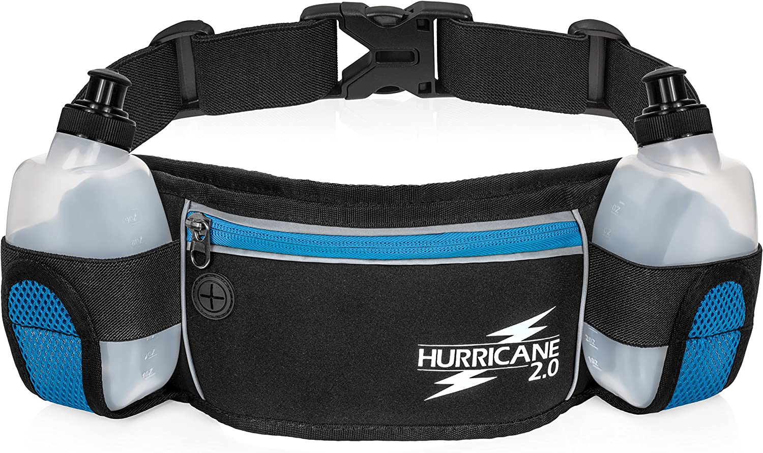 Water Bottle Running Belt by Hurricane, High Visibility Reflective Lightweight Water Resistant Exercise Pack, Adjustable for Men & Women, Non-Slip Material, Large Zipper Pocket Fits iPhone & Samsung