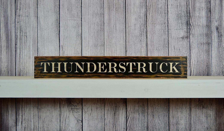 CELYCASY Thunderstruck | ACDC | Señal de Madera rústica Envejecida ...