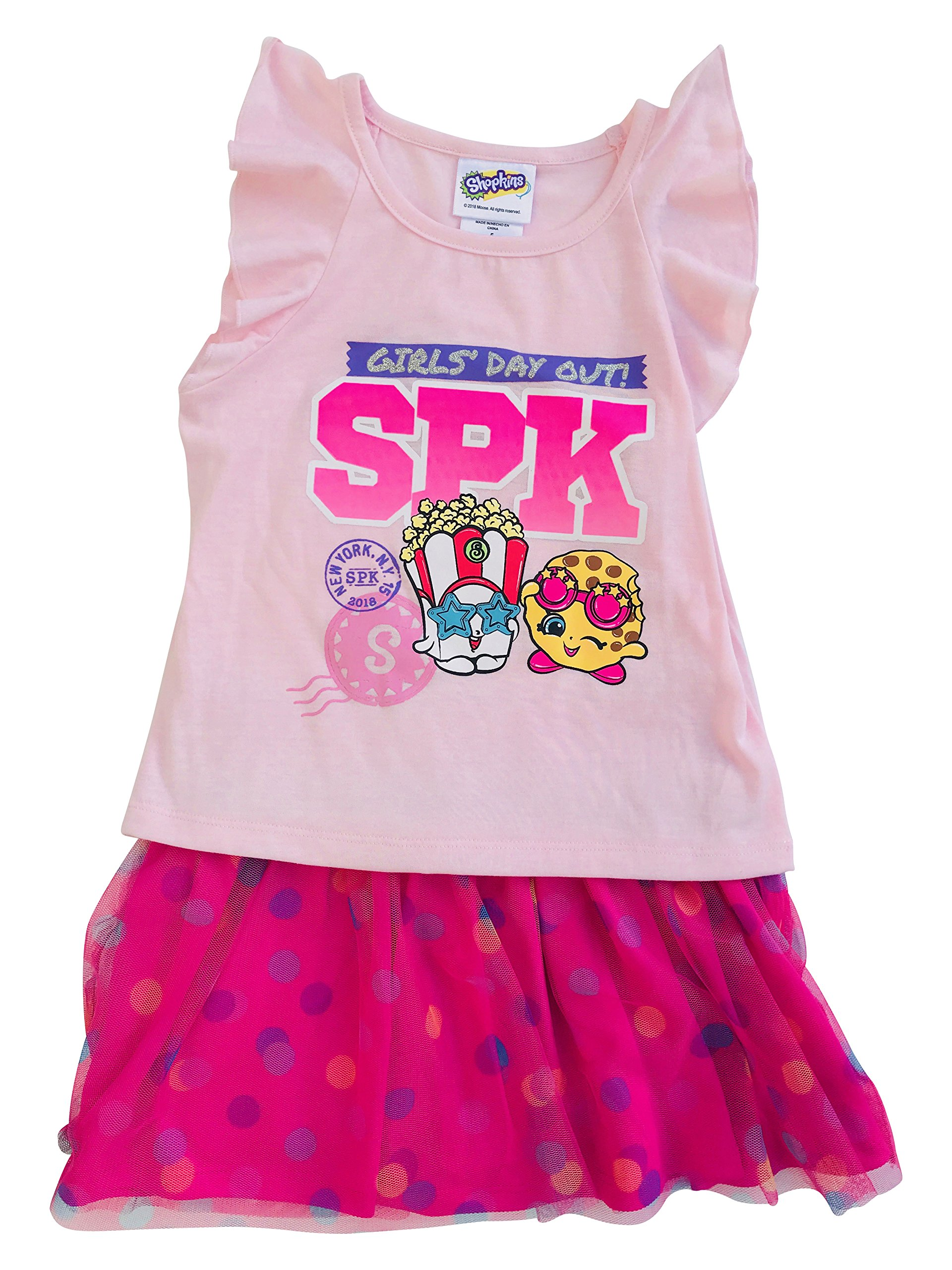 Shopkins ''Girls Day Out Flutter Sleeve Popcorn Cookie Tulle Skirt Set Pink Size 4