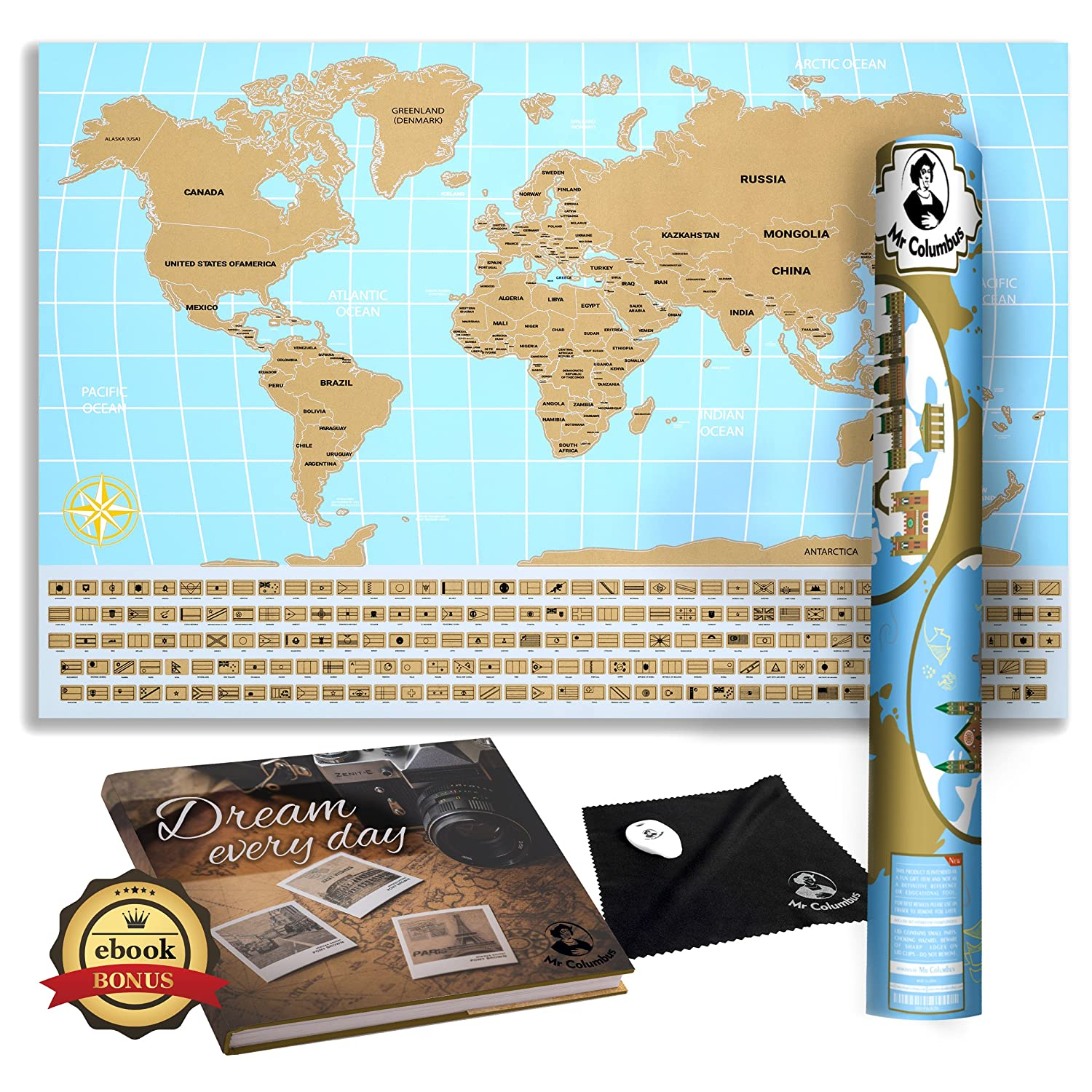 Scratch Off World Map Poster.Amazon Com Mr Columbus Scratch Off World Map Poster With Country