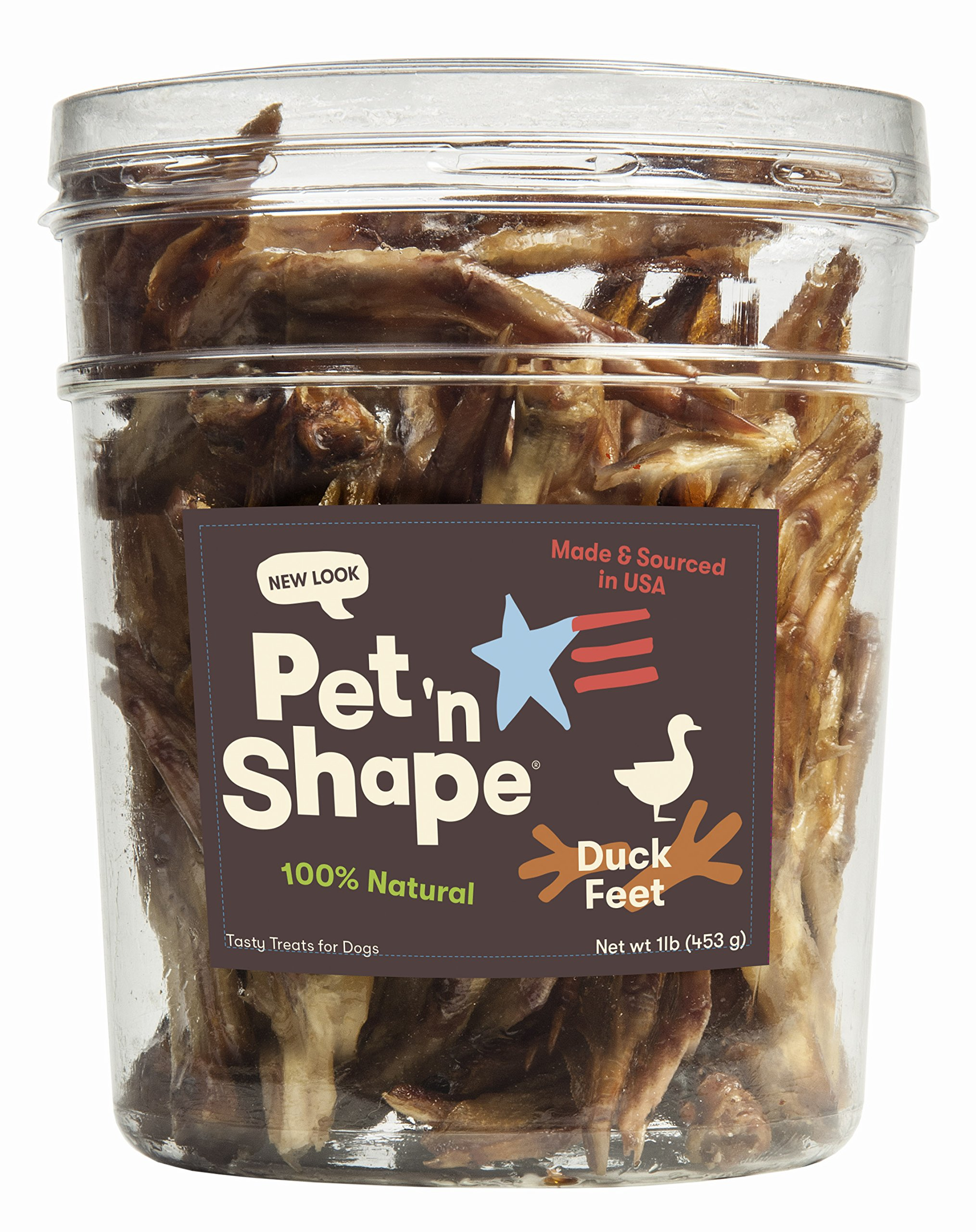 Pet 'n Shape Duck Feet - Made & Sourced in The USA - All-NaturalDog Treat, 1 Lb (30 Count) by Pet 'n Shape