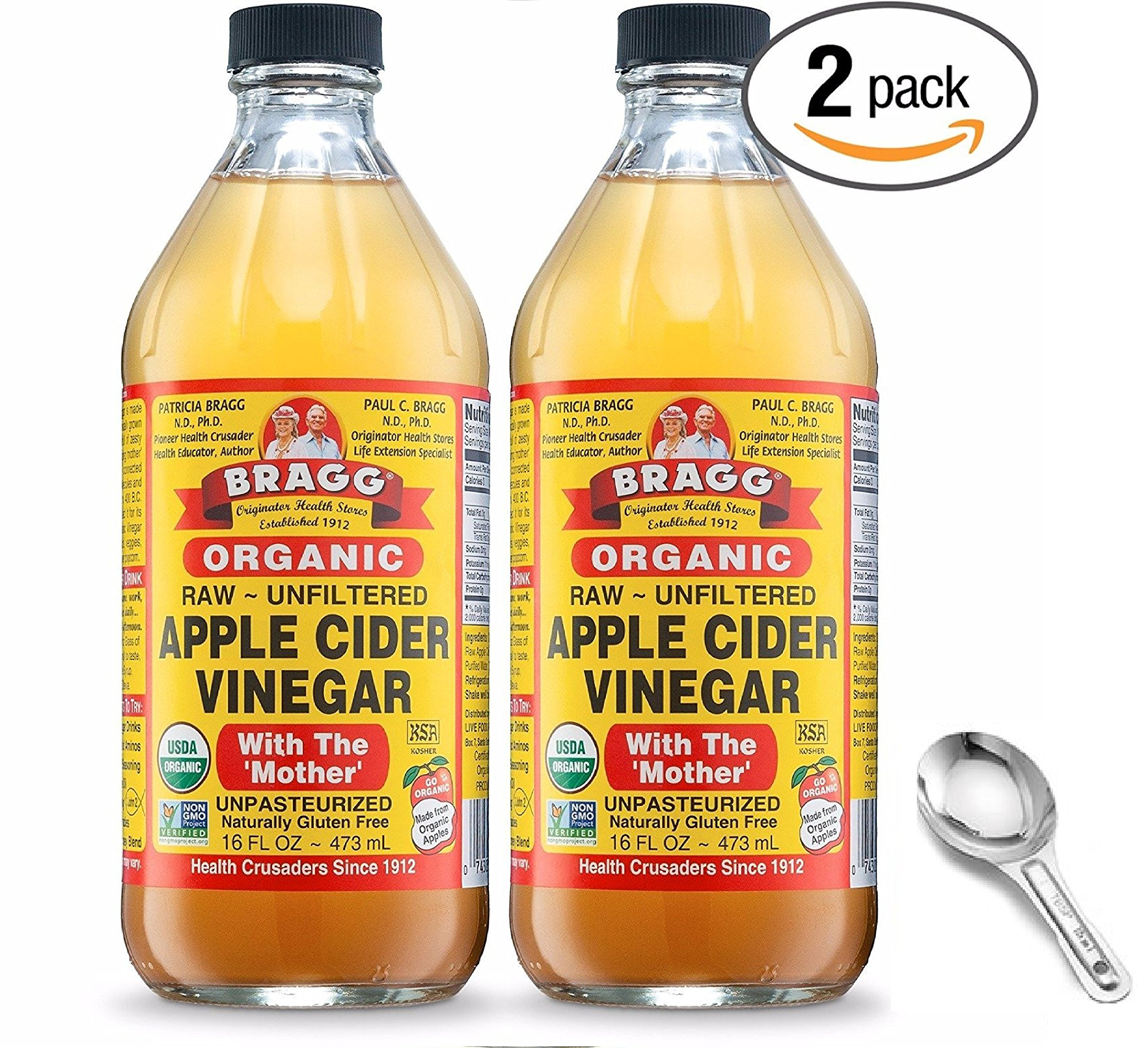 Bragg USDA Organic Raw Apple Cider Vinegar, With The Mother 16 Ounces Natural Cleanser, Promotes Weight Loss - Pack of 2 w/Measuring Spoon