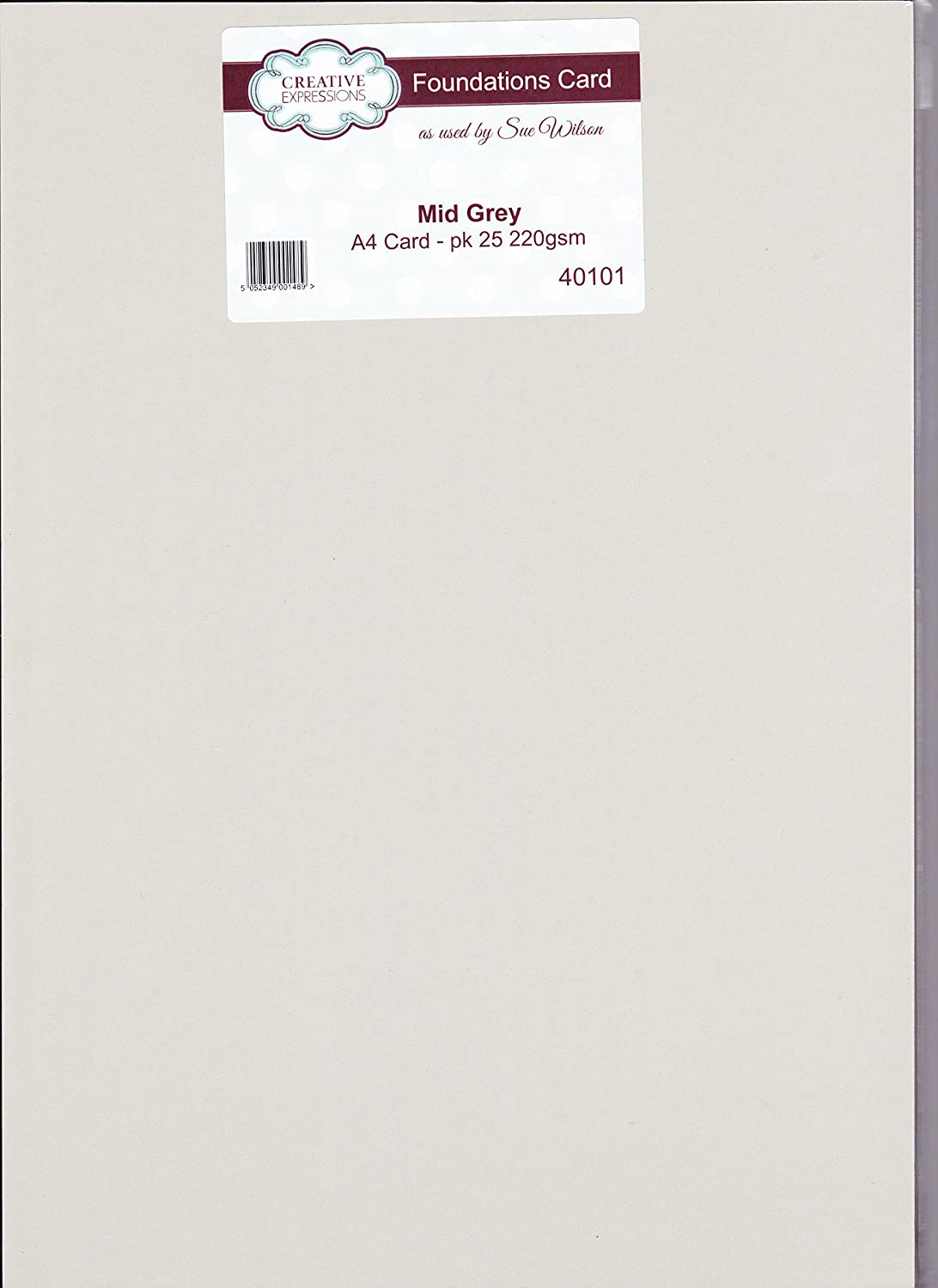 Creative Expressions Foundations Mid Grey A4 Cardstock 25 sheets